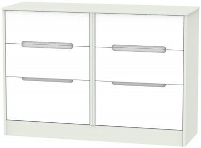 Monaco White and Kaschmir 6 Drawer Midi Chest