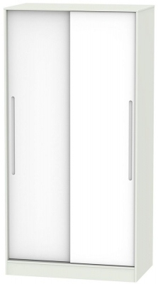Monaco 2 Door Sliding Wardrobe - White and Kaschmir