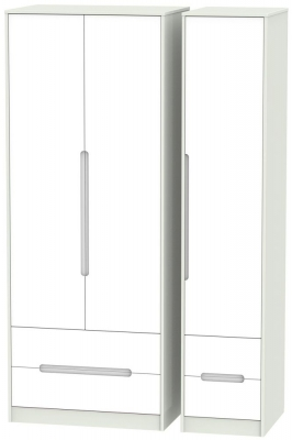 Monaco White and Kaschmir Triple Wardrobe - Tall with Drawer