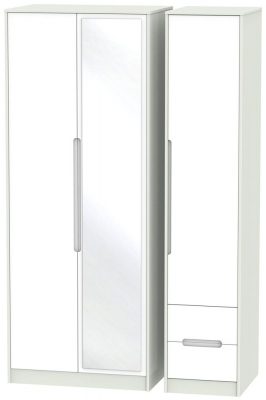 Monaco White and Kaschmir Triple Wardrobe - Tall with Mirror and 2 Drawer