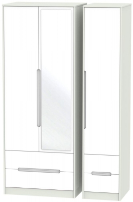 Monaco 3 Door 4 Drawer Tall Combi Wardrobe - White and Kaschmir