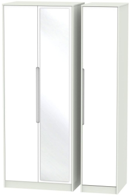 Monaco 3 Door Tall Mirror Wardrobe - White and Kaschmir