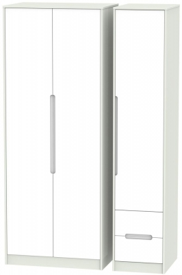Monaco White and Kaschmir Triple Wardrobe - Tall Plain with 2 Drawer