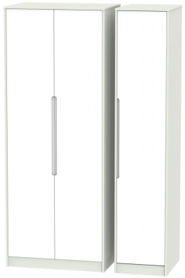 Monaco 3 Door Tall Wardrobe - White and Kaschmir