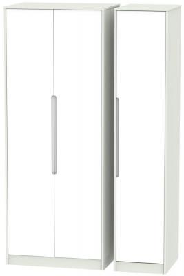 Monaco White and Kaschmir Triple Wardrobe - Tall Plain