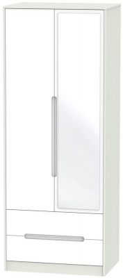 Monaco 2 Door Tall Combi Wardrobe - White and Kaschmir