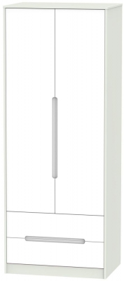 Monaco White and Kaschmir Wardrobe - Tall 2ft 6in with 2 Drawer