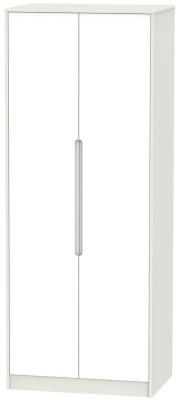 Monaco White and Kaschmir Wardrobe - Tall 2ft 6in with Double Hanging