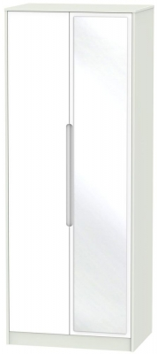Monaco 2 Door Tall Mirror Wardrobe - White and Kaschmir