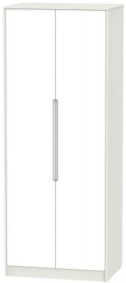 Monaco White and Kaschmir 2 Door Tall Plain Double Wardrobe