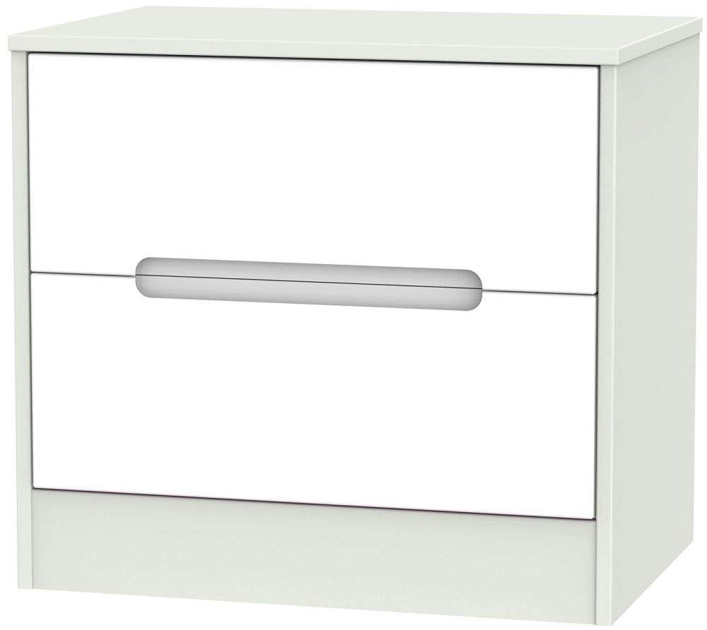 Monaco White and Kaschmir 2 Drawer Midi Chest