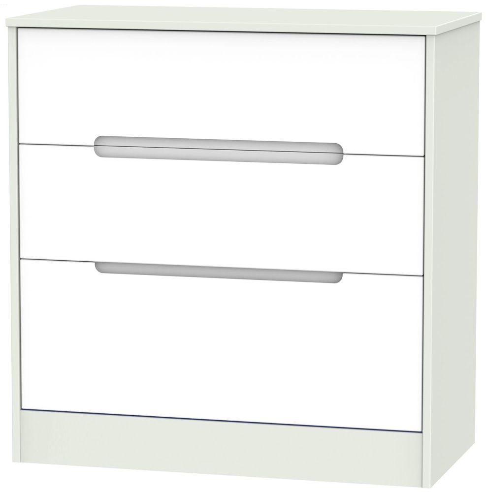 Monaco White and Kaschmir 3 Drawer Deep Chest