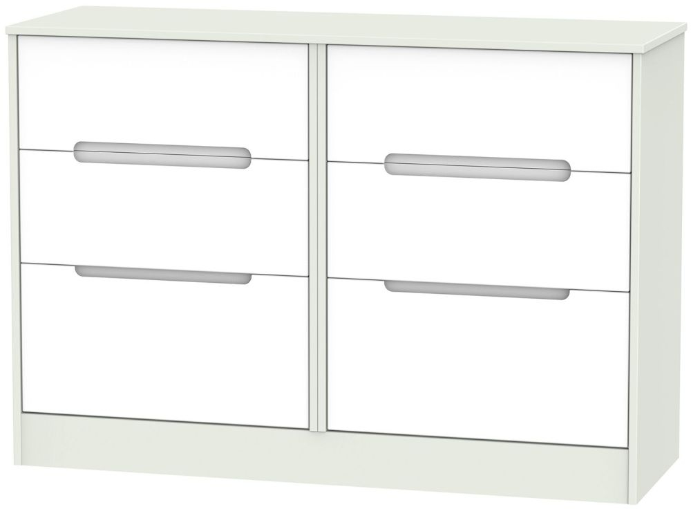 Monaco White and Kaschmir Chest of Drawer - 6 Drawer Midi