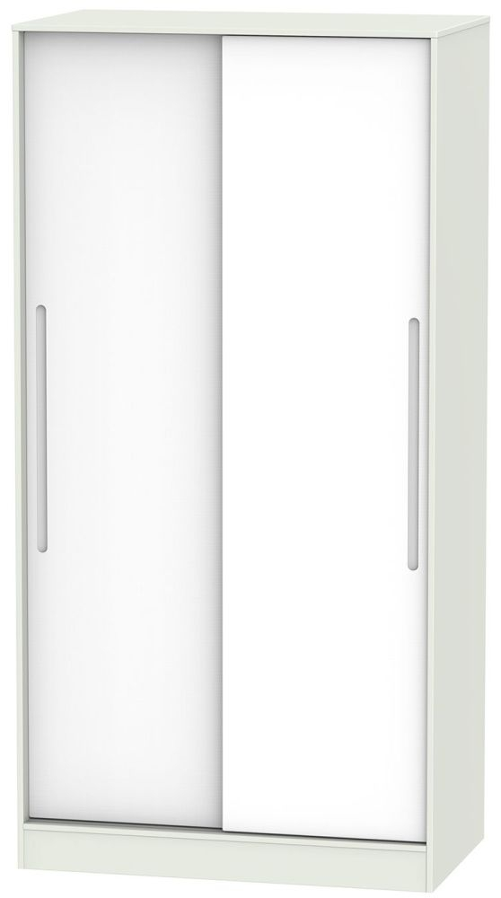 Monaco White and Kaschmir 2 Door Wide Sliding Wardrobe