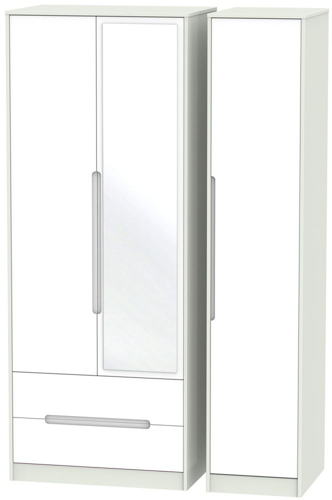 Monaco White and Kaschmir Triple Wardrobe - Tall with 2 Drawer and Mirror