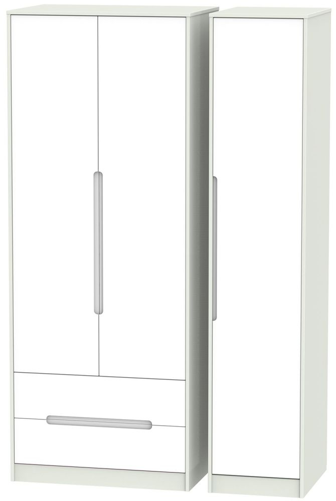 Monaco White and Kaschmir Triple Wardrobe - Tall with 2 Drawer
