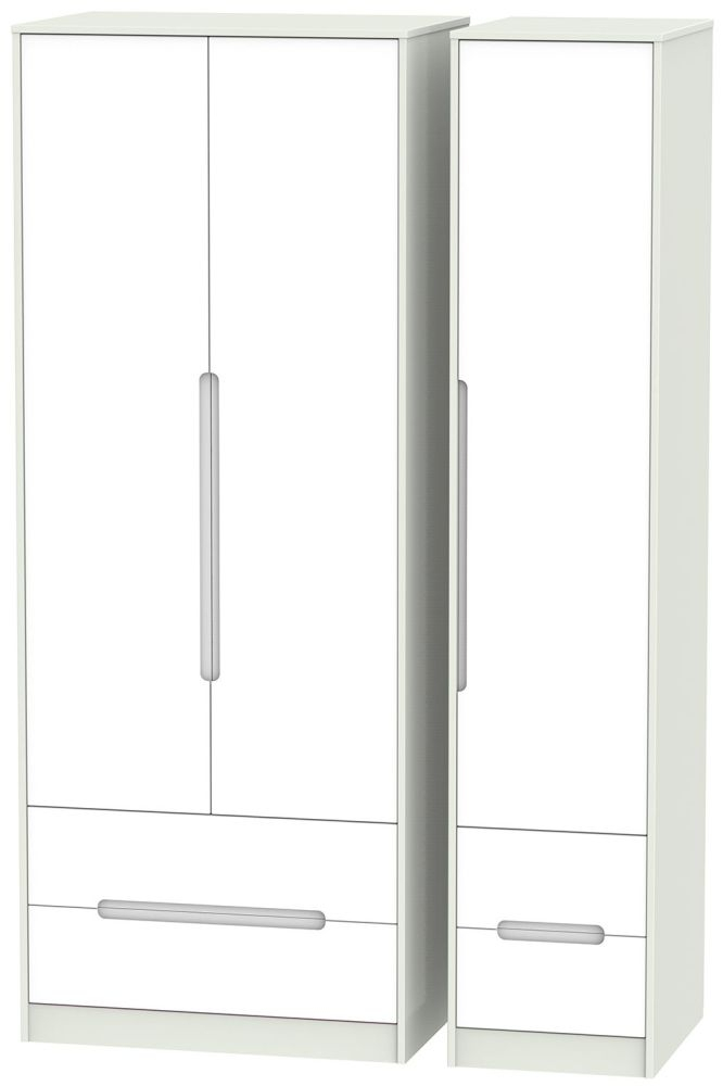 Monaco White and Kaschmir Triple Wardrobe - Tall with Drawer