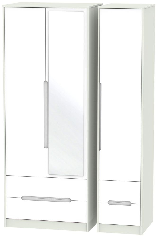 Monaco White and Kaschmir Triple Wardrobe - Tall with Mirror and Drawer