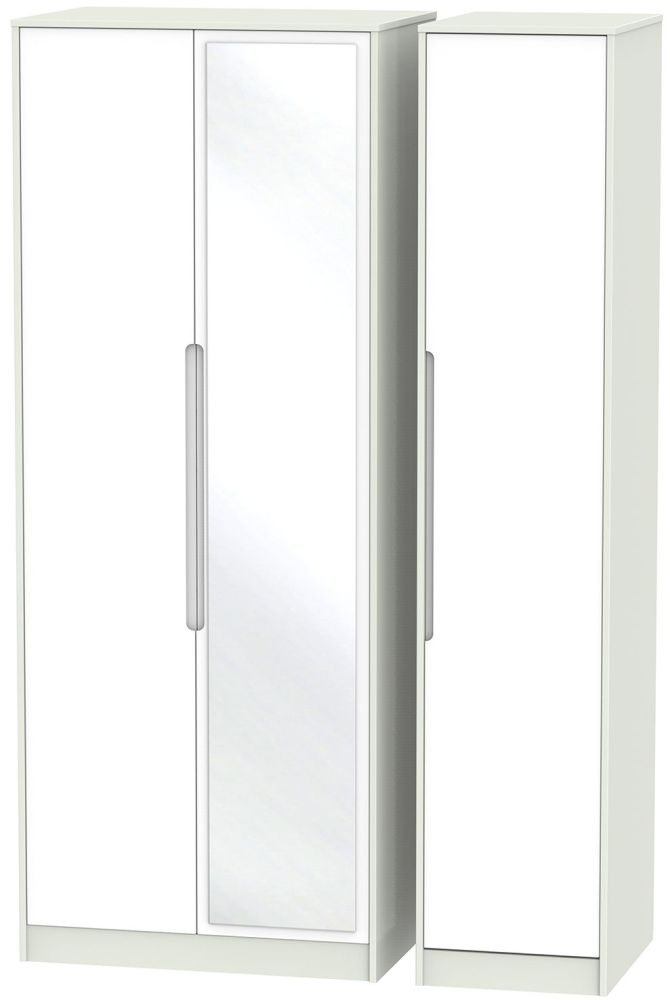 Monaco White and Kaschmir Triple Wardrobe - Tall with Mirror