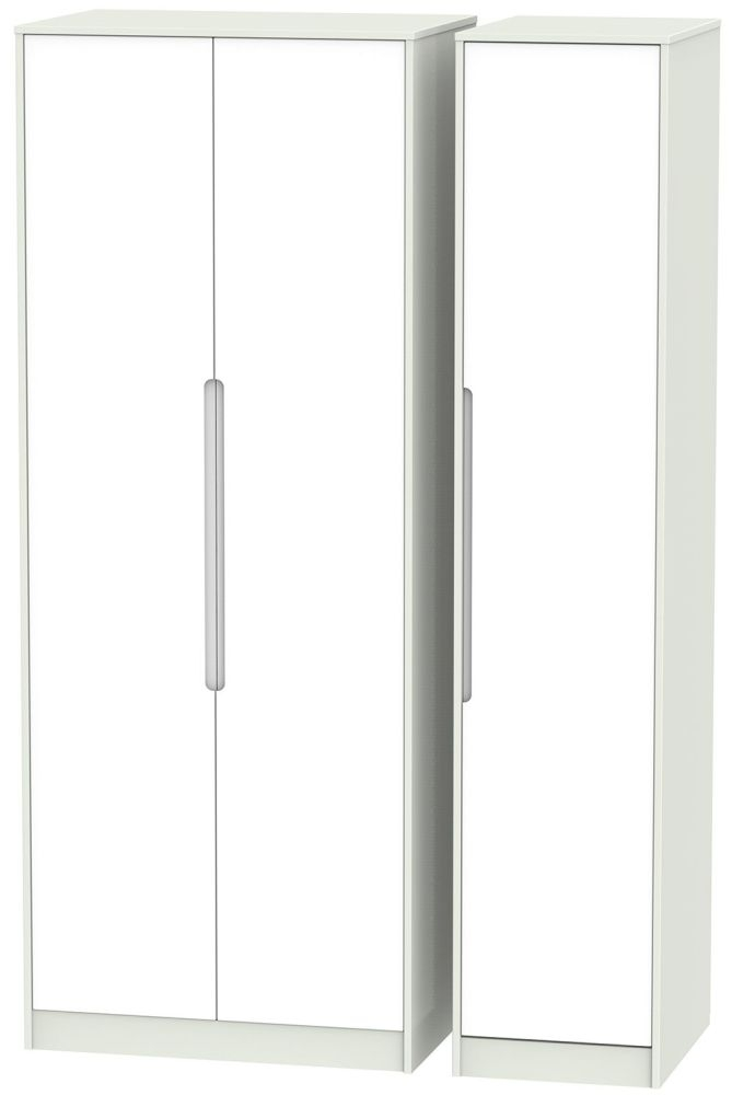 Monaco White and Kaschmir 3 Door Tall Plain Triple Wardrobe