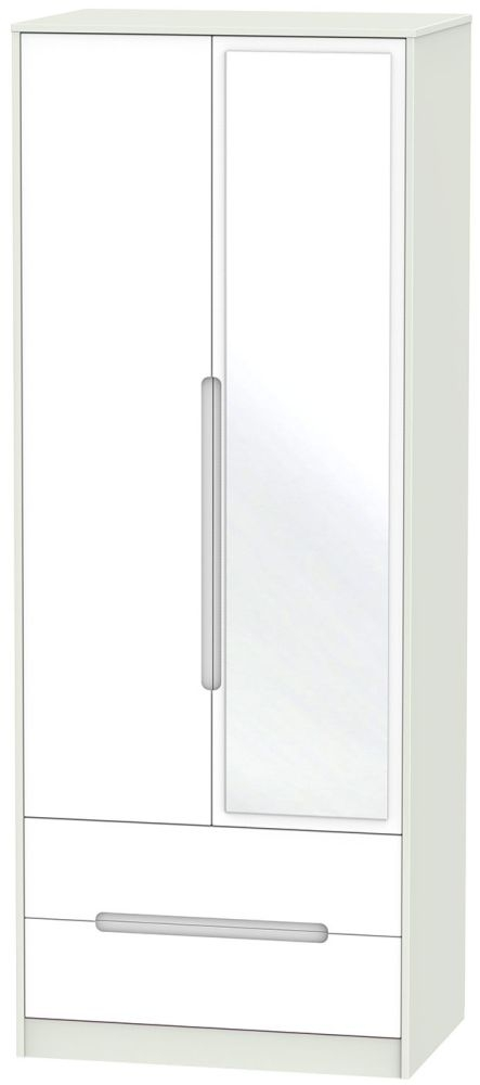 Monaco White and Kaschmir Wardrobe - Tall 2ft 6in with 2 Drawer and Mirror