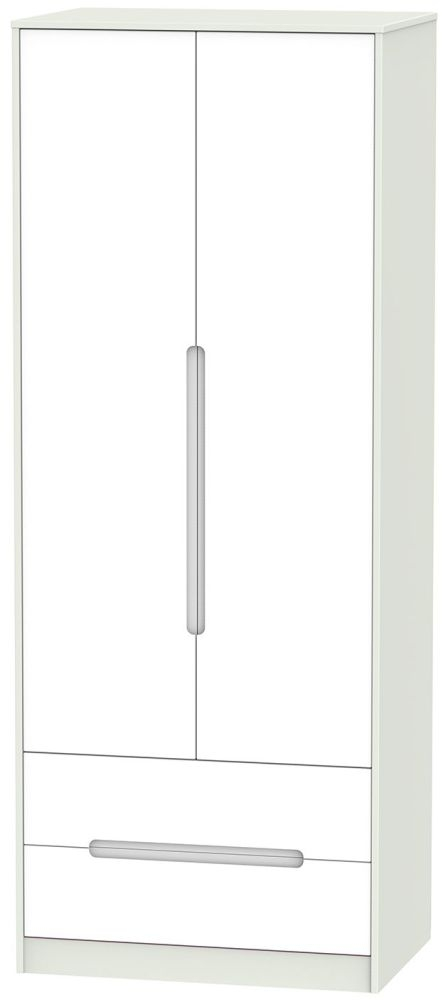 Monaco 2 Door 2 Drawer Tall Wardrobe - White and Kaschmir