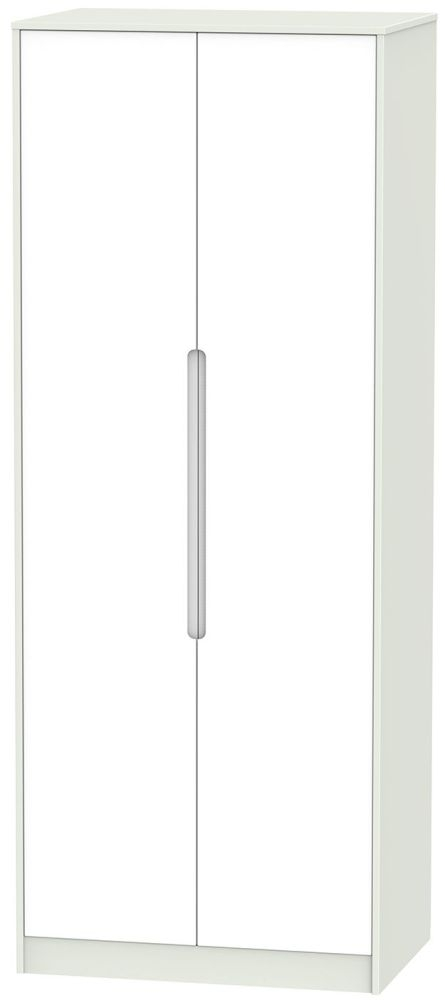 Monaco White and Kaschmir 2 Door Tall Double Hanging Wardrobe