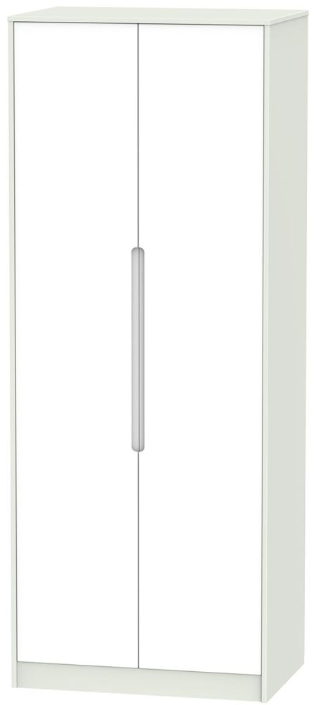 Monaco White and Kaschmir Wardrobe - Tall 2ft 6in with Plain