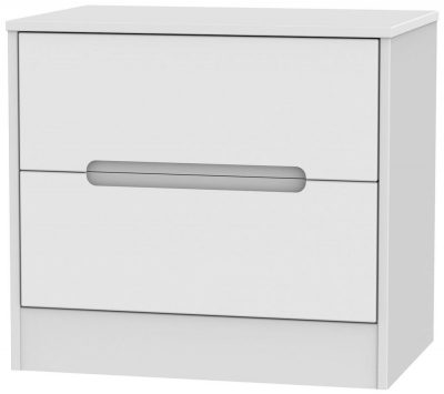 Monaco White Chest of Drawer - 2 Drawer Midi