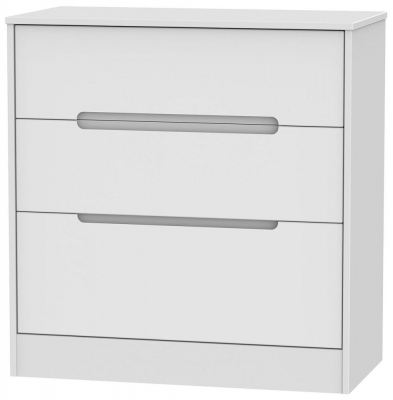 Monaco White Chest of Drawer - 3 Drawer Deep
