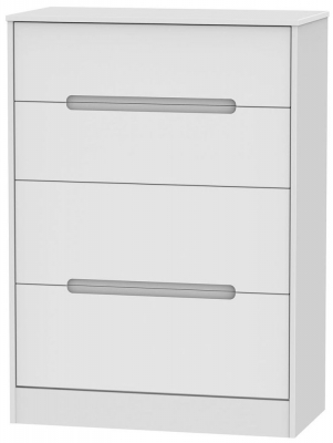 Monaco White Chest of Drawer - 4 Drawer Deep