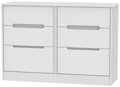 Monaco White Chest of Drawer - 6 Drawer Midi