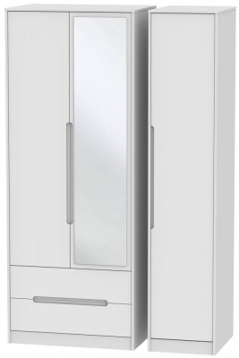 Monaco White 3 Door 2 Left Drawer Tall Combi Wardrobe