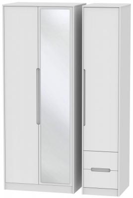 Monaco White 3 Door 2 Right Drawer Tall Combi Wardrobe