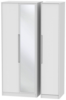 Monaco White 3 Door Tall Mirror Wardrobe