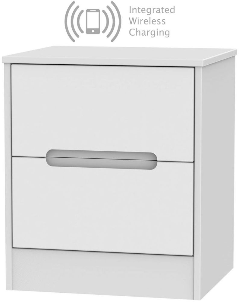 Monaco White 2 Drawer Bedside Cabinet with Integrated Wireless Charging