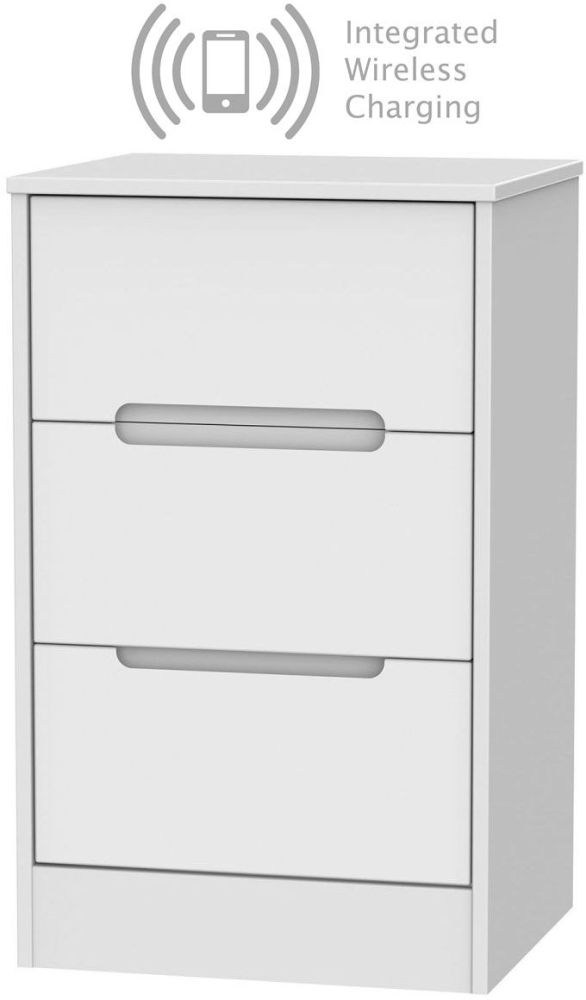 Monaco White 3 Drawer Bedside Cabinet with Integrated Wireless Charging