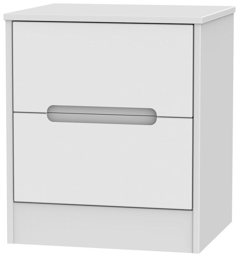 Monaco White Bedside Cabinet - 2 Drawer Locker