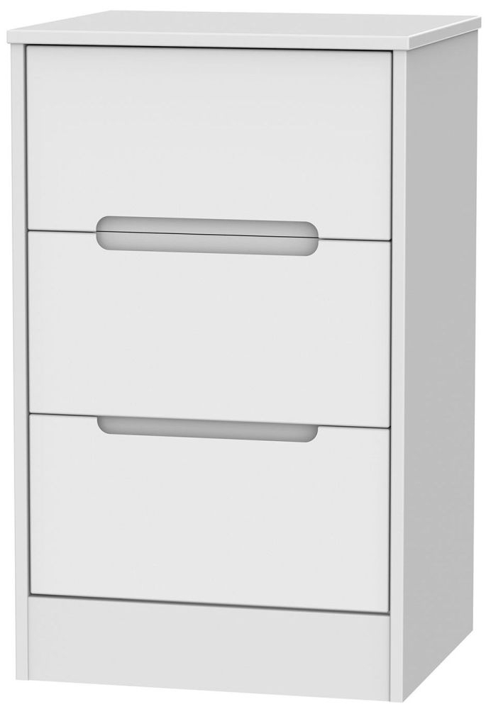 Monaco White 3 Drawer Bedside Cabinet