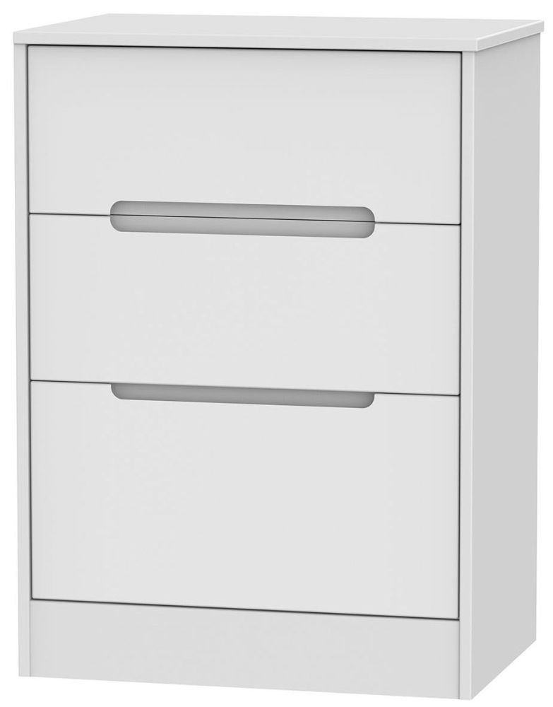 Monaco White Chest of Drawer - 3 Drawer Deep Midi