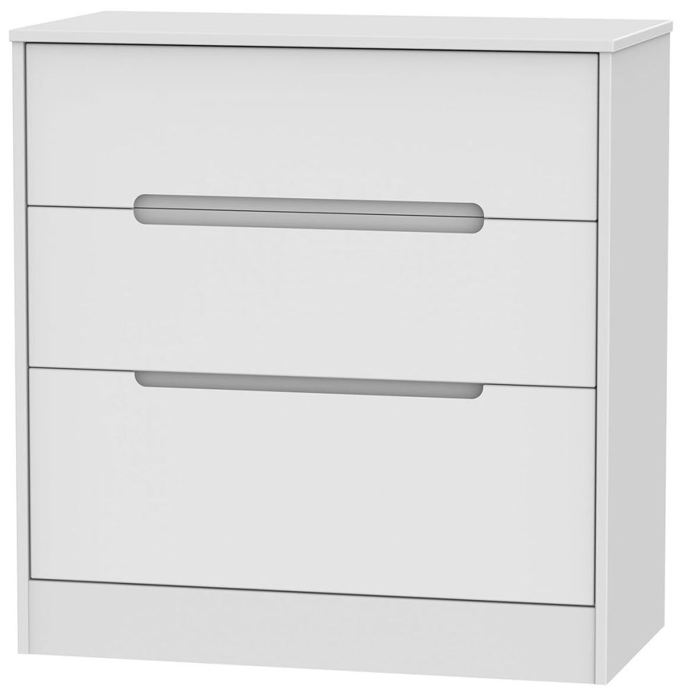 Monaco White 3 Drawer Deep Chest