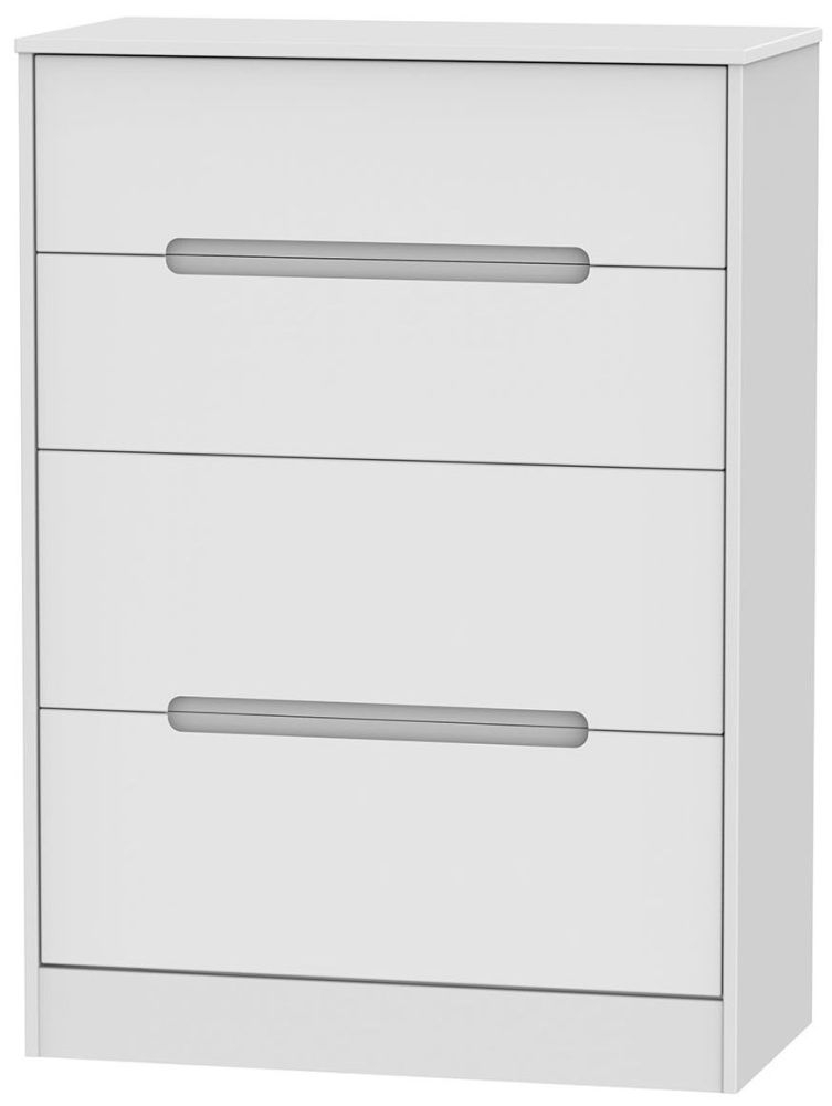 Monaco White 4 Drawer Deep Chest