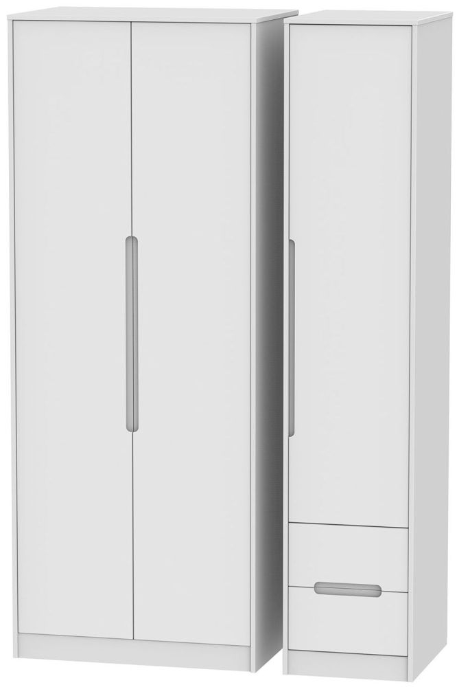 Monaco White 3 Door 2 Right Drawer Wardrobe