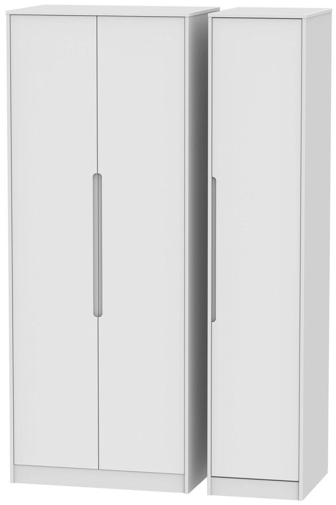 Monaco White 3 Door Tall Plain Triple Wardrobe