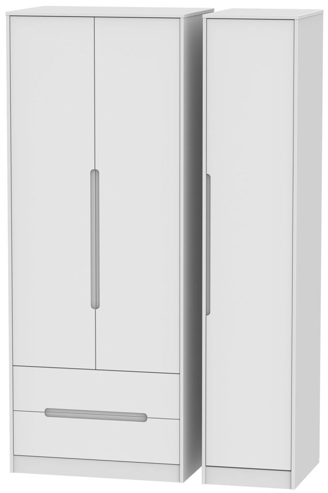 Monaco White 3 Door 2 Drawer Tall Triple Wardrobe