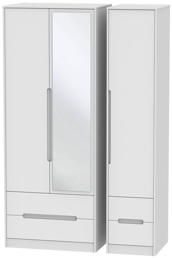 Monaco White 3 Door 4 Drawer Tall Mirror Triple Wardrobe