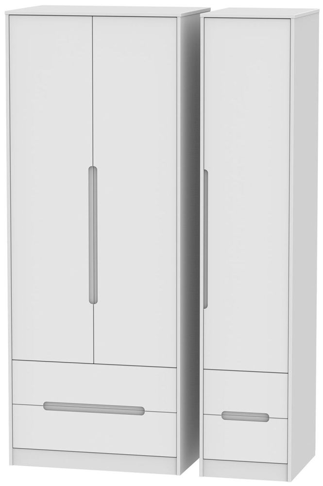 Monaco White 3 Door 4 Drawer Tall Triple Wardrobe