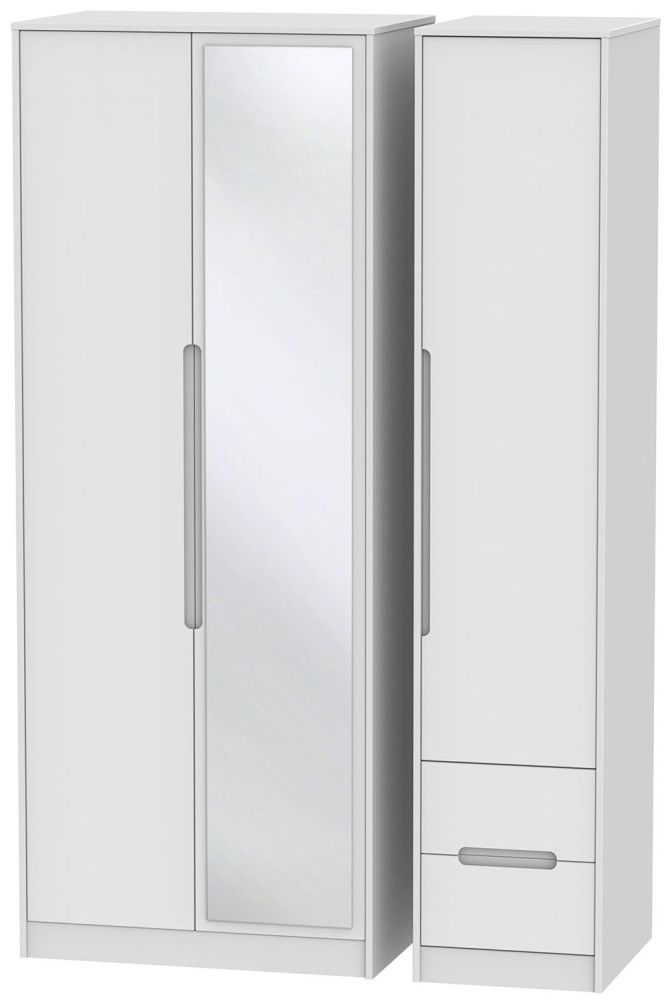 Monaco White 3 Door 2 Right Drawer Tall Mirror Triple Wardrobe