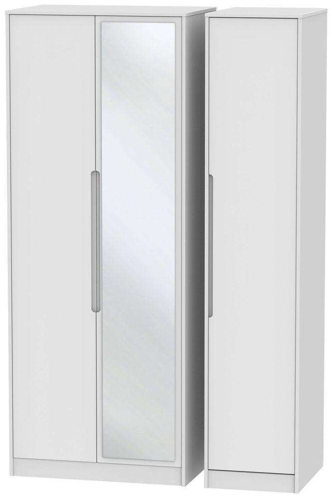 Monaco White 3 Door Tall Mirror Triple Wardrobe