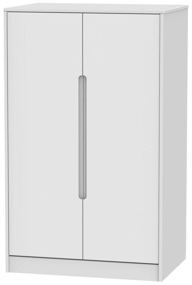 Monaco White 2 Door Plain Midi Wardrobe